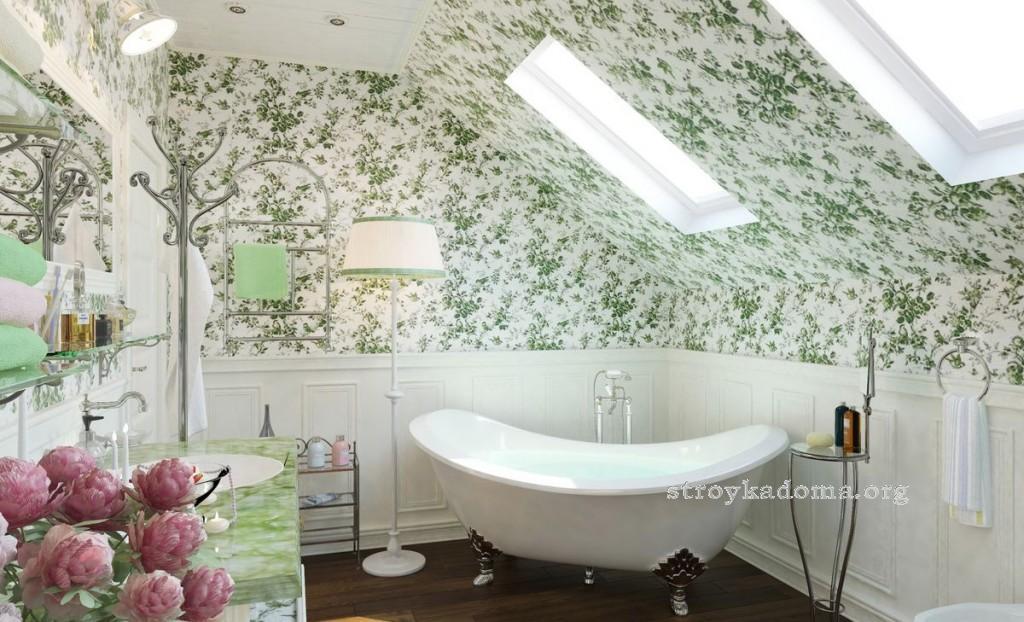 ванная в ретро стиле в загородном доме