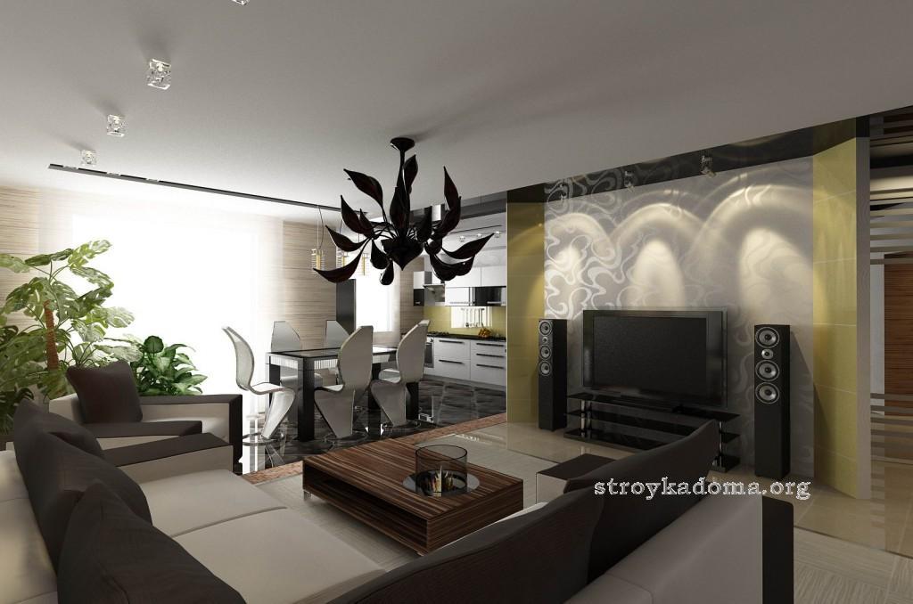 гостиная кухня современный стиль