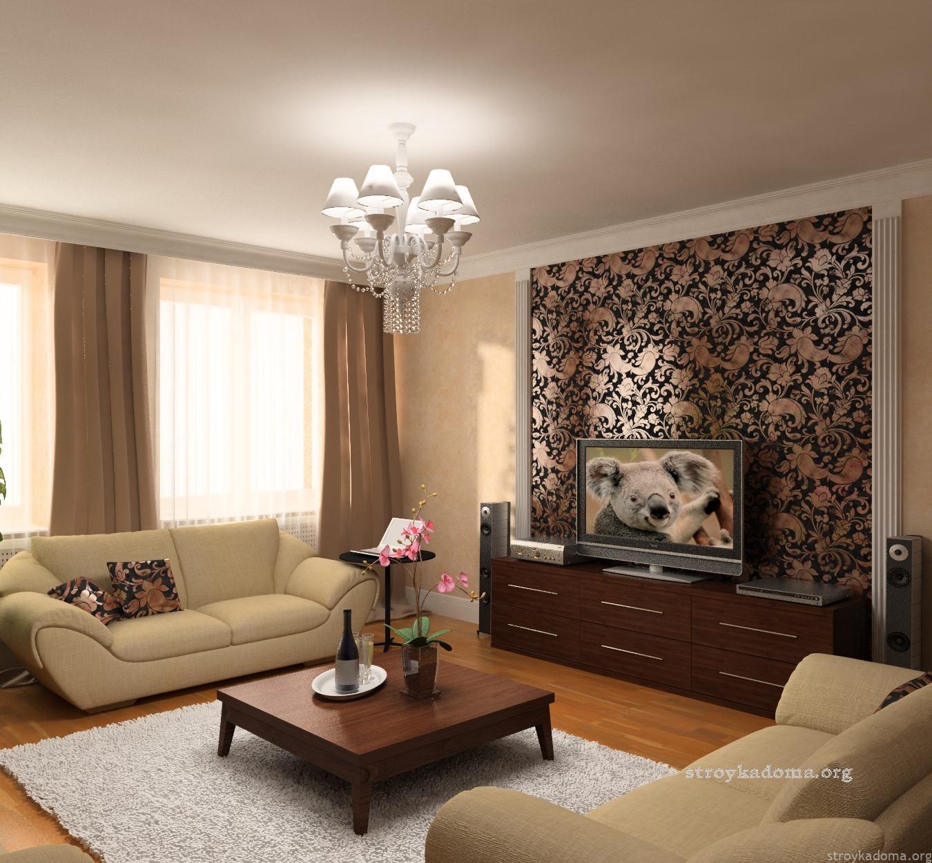 Дизайн гостиной обои фото