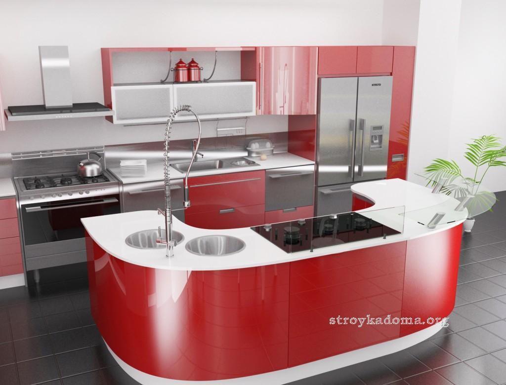 интерьер современной кухни в красных оттенках