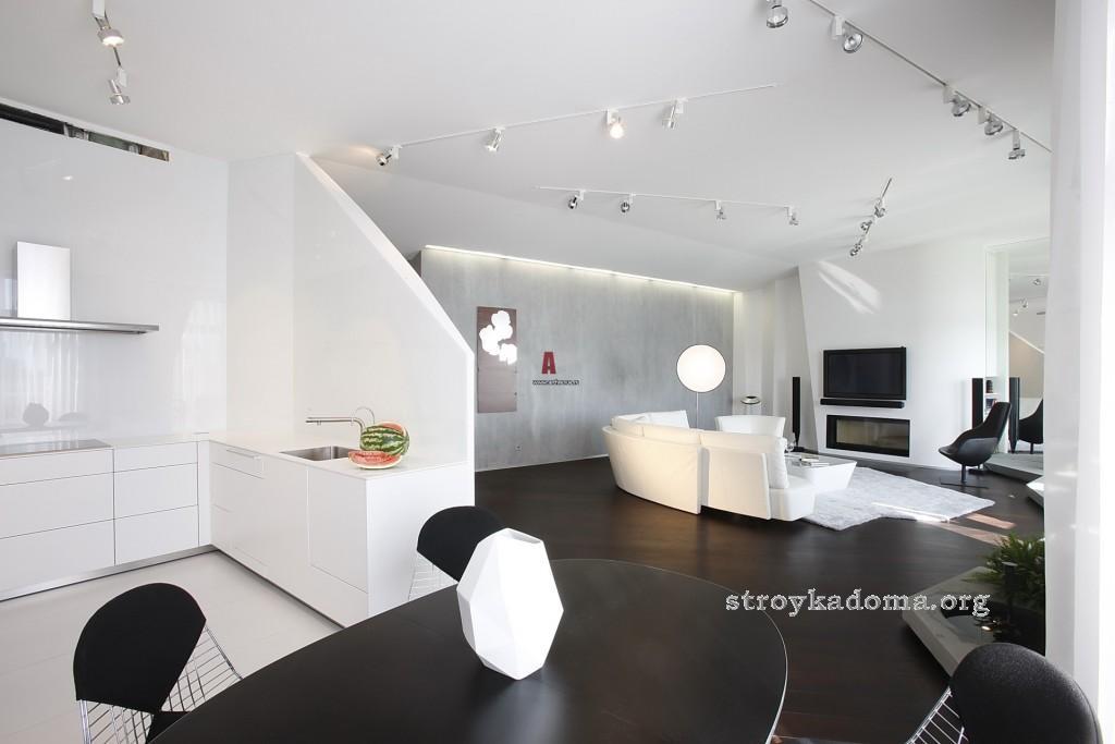 интерьер кухни вместе с гостиной