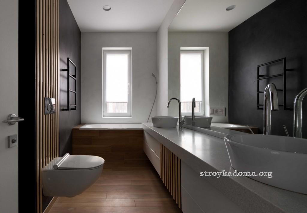 красивый дизайн узкой ванной комнаты