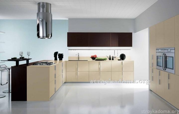 креативный дизайн просторной кухни