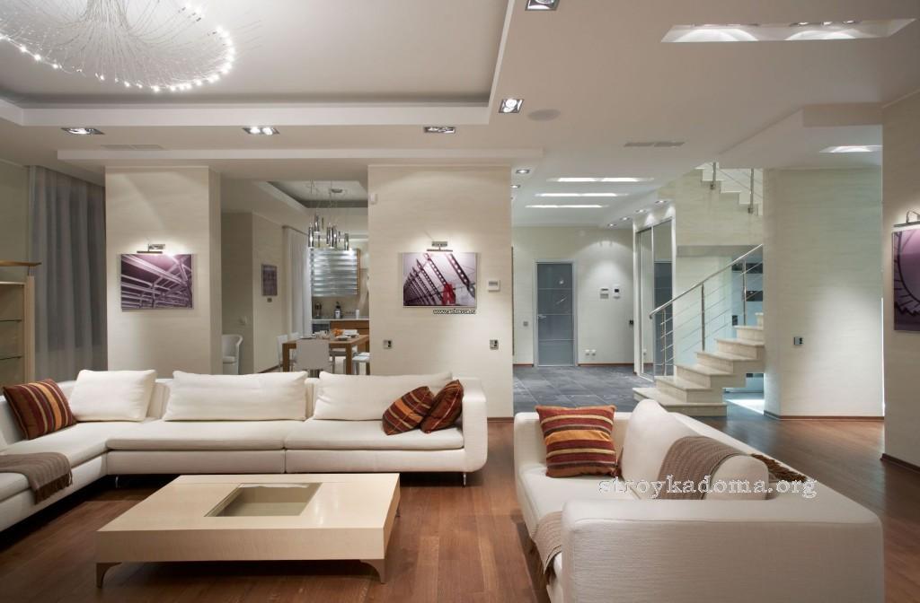 современный стиль дизайна гостиной