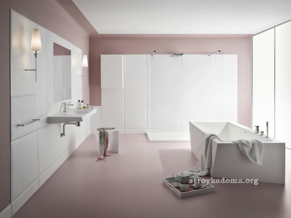 стильная ванная в теплых тонах