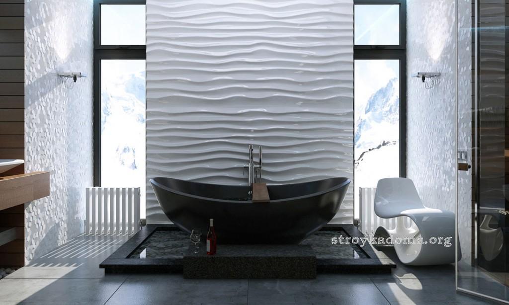 стильная ванная комната в загородном доме