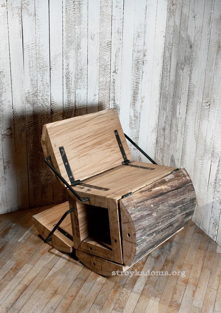 креативный стул из пенька