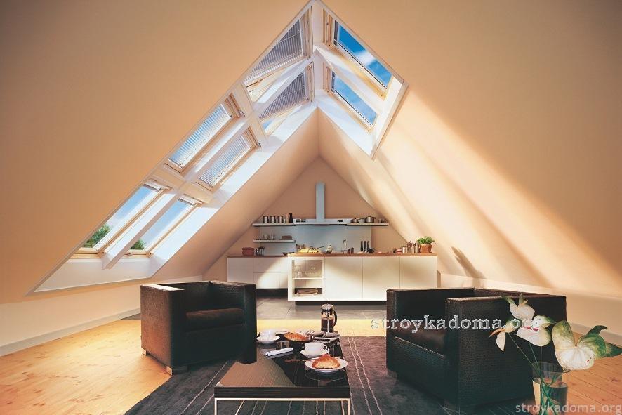 прямые и наклонные мансардные окна