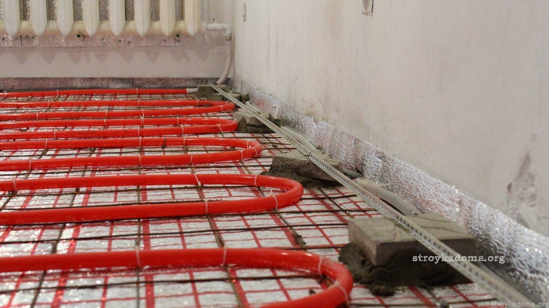 Процес заливки водянного теплого пола - схема
