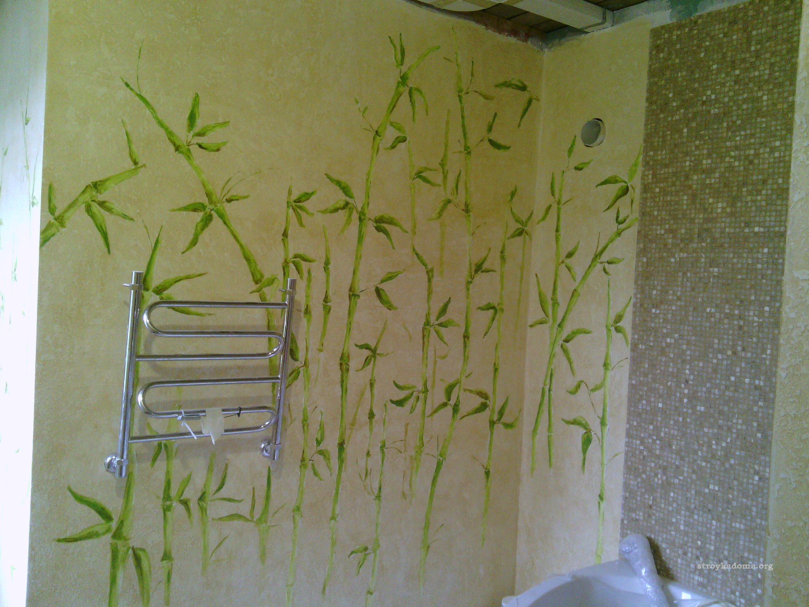 Роспись салатового цвета для ванной комнаты