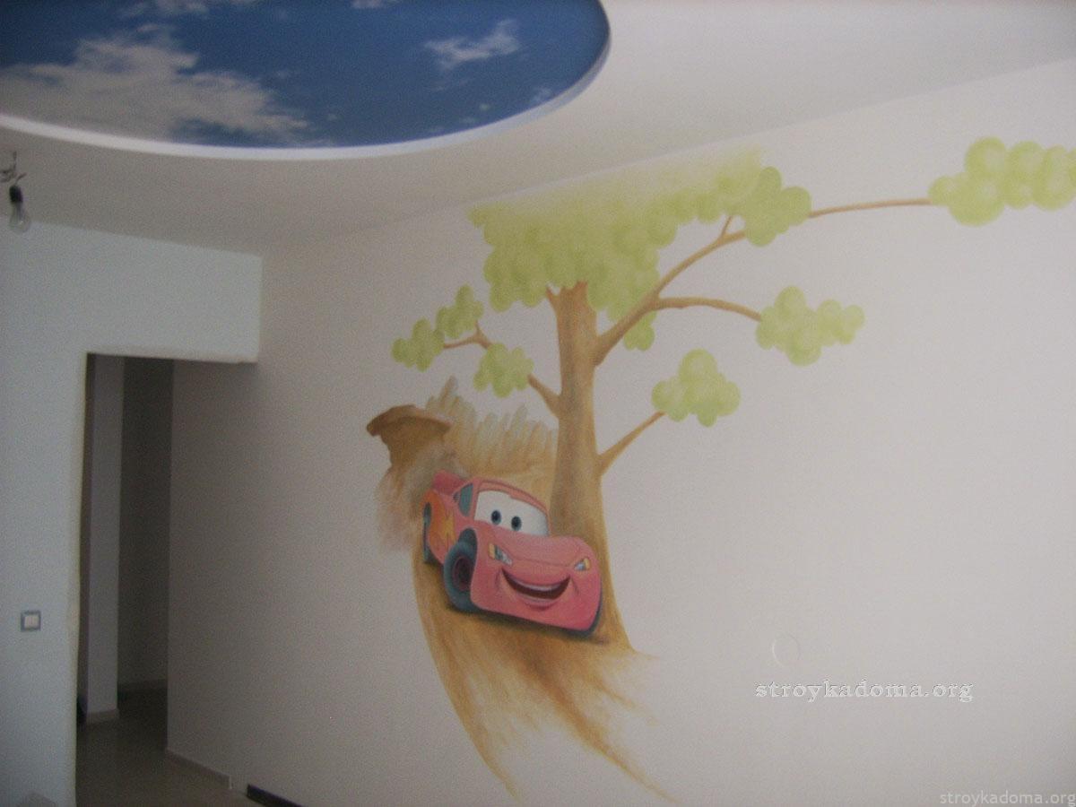 Рисунок на стене детской комнаты своими руками