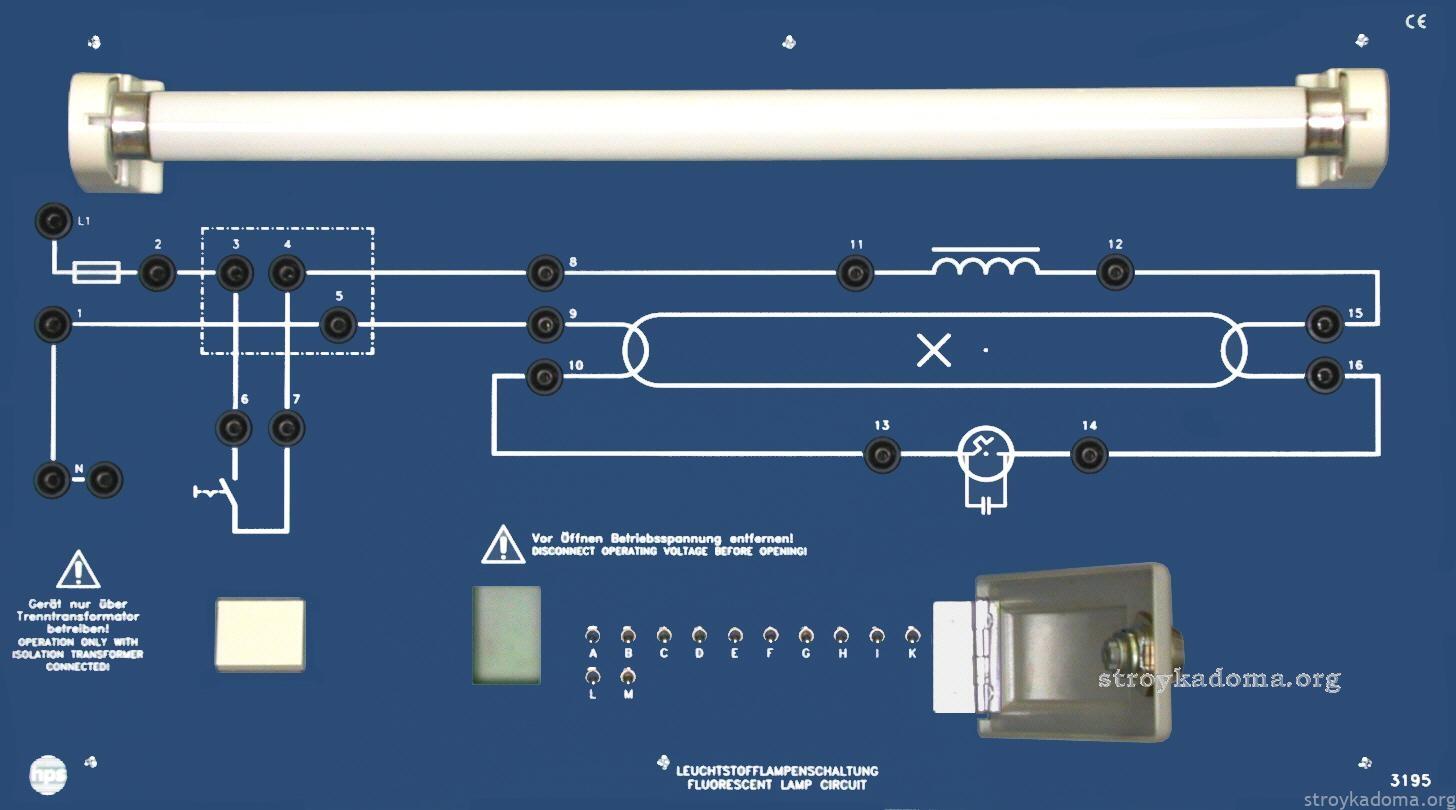 Схема подключения люминесцентного светильника фото 536