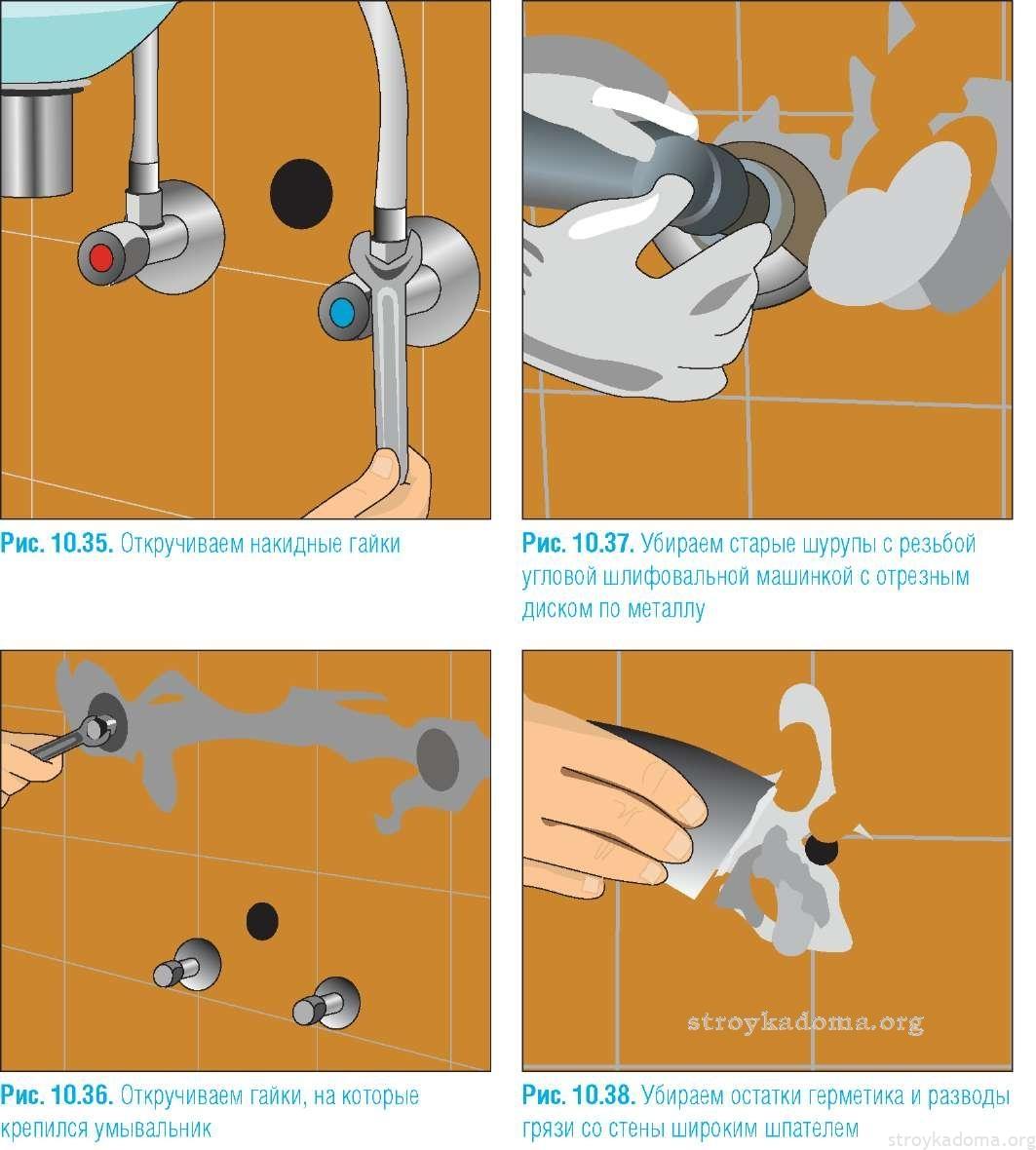 Схема по снятию умывальника