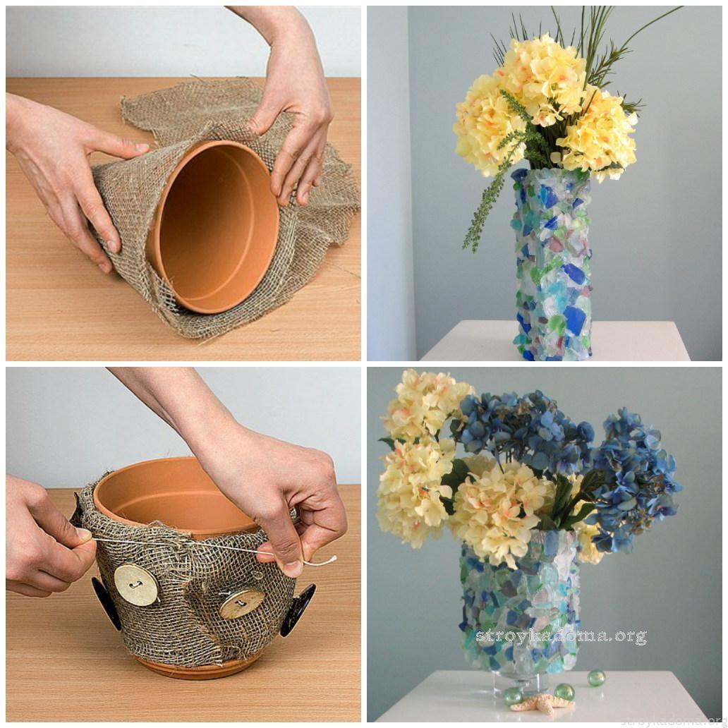 Красивое кашпо для цветов  своими руками