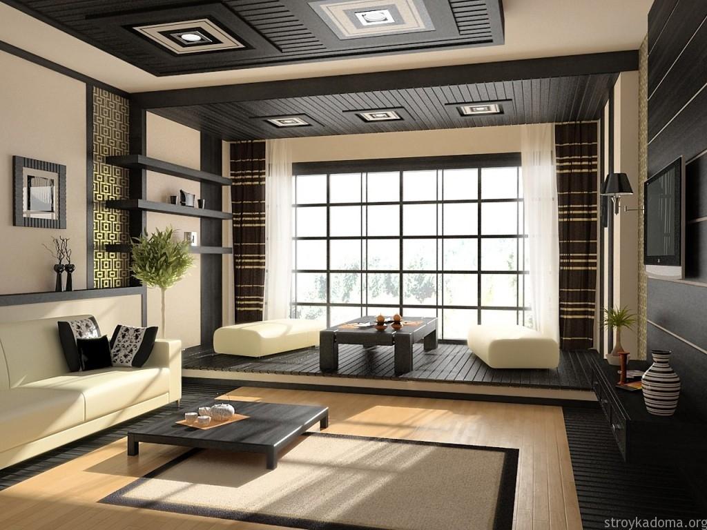 Дизайн интерьера в японском стиле с подиумом