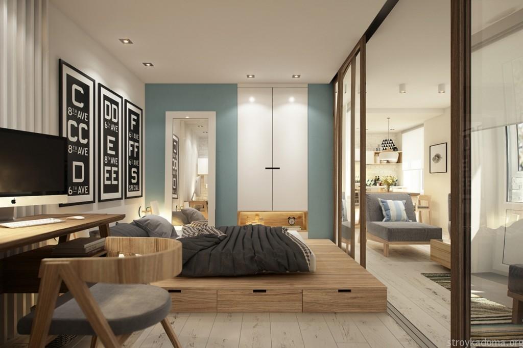 Дизайн интерьера однокомнатной квартиры 40 кв.м. с подиумом