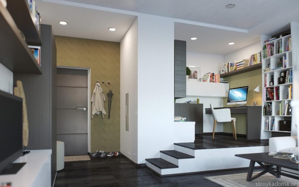 Рабочая зона на подиуме в маленькой квартире 40 кв