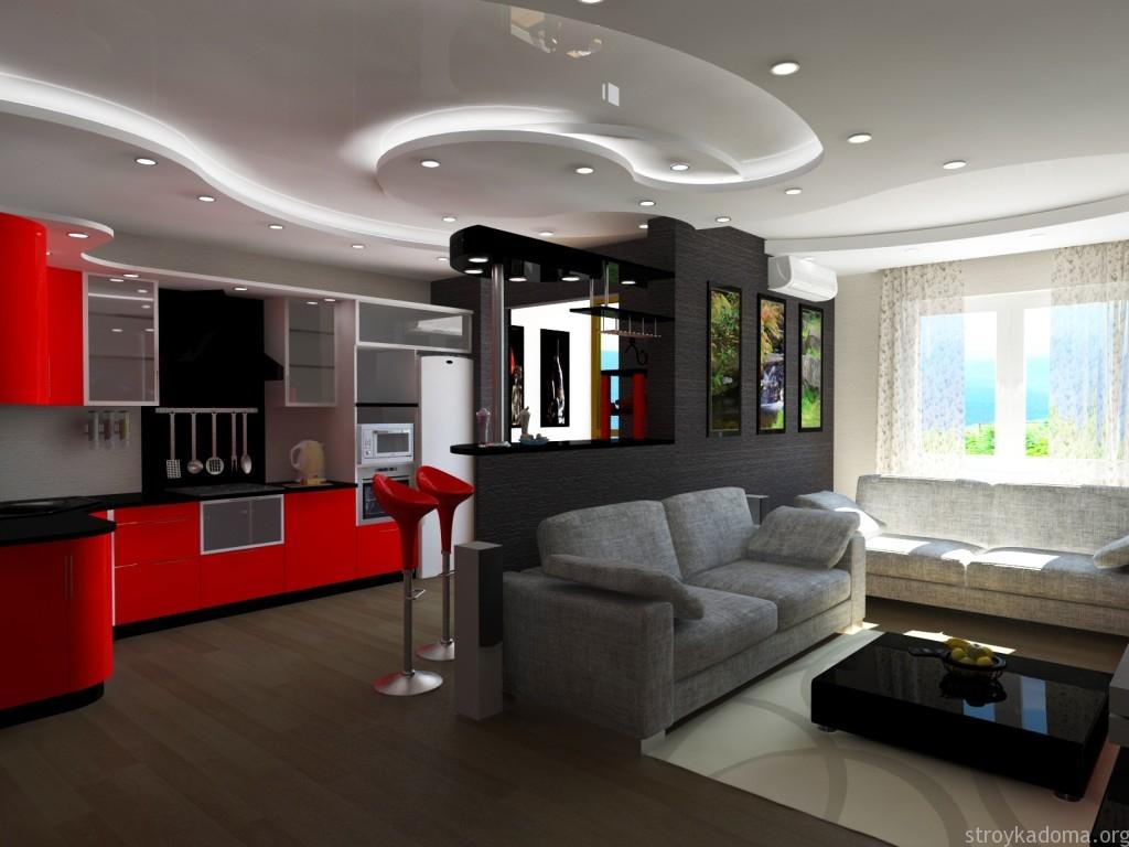 Разделение кухни и прихожей перегородкой в однокомнатной квартире 40 м.кв