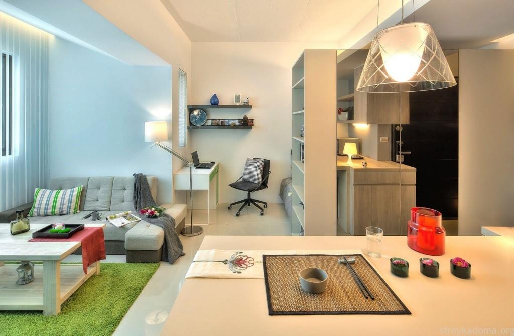 Разделить пространство в квартире 40 м.кв можно перегородкой в виде стелажа
