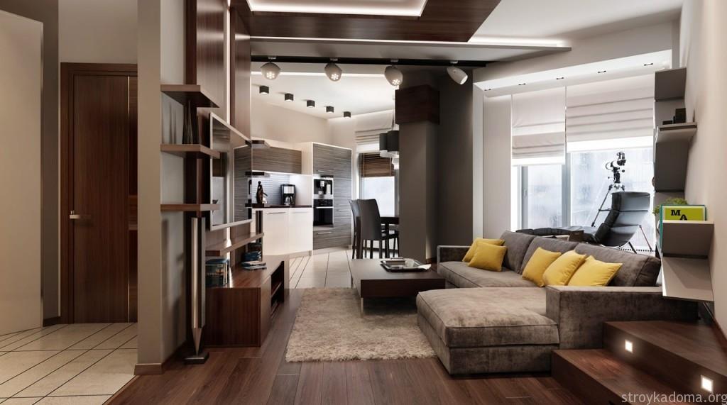 дизайн однокомнатной квартиры студии 12
