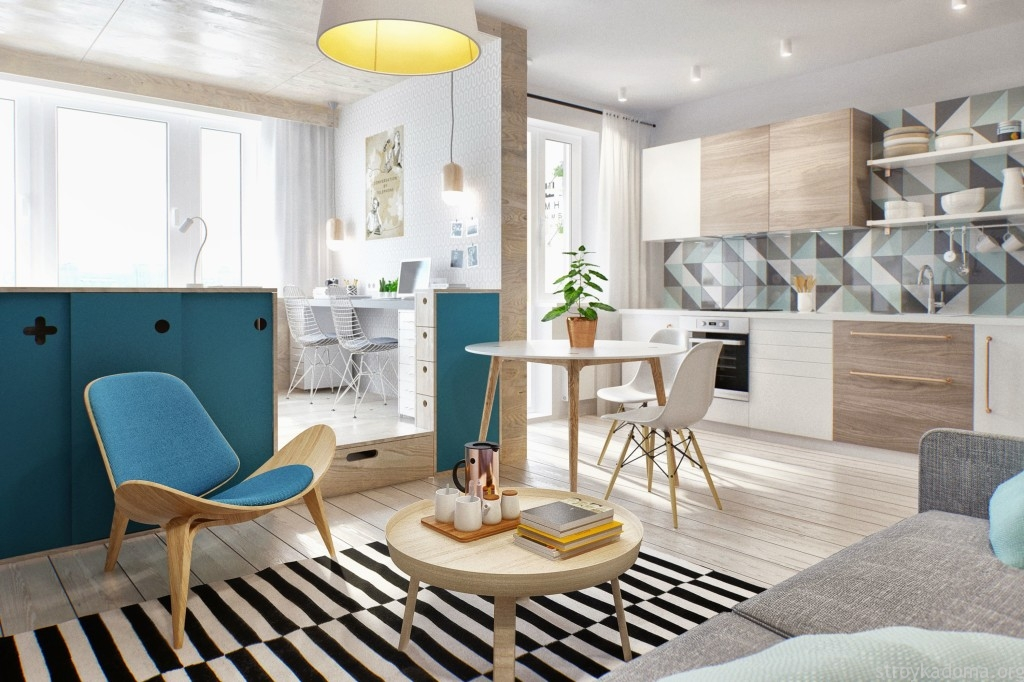 дизайн однокомнатной квартиры студии 9