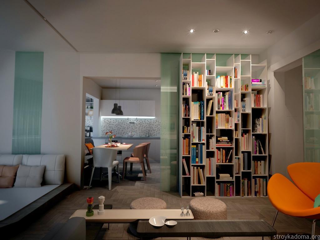 молодежный интерьер однокомнатной квартиры 40 м.кв