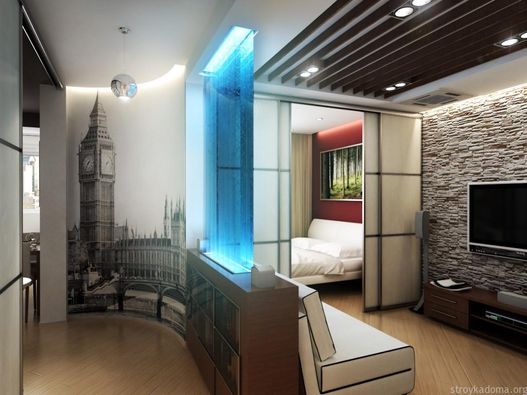 удачный пример зонирования однокомнатной квартиры с помощью разных перегородок