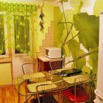 Шторы-арка-в-интерьере-кухни-с-зелеными-стенами
