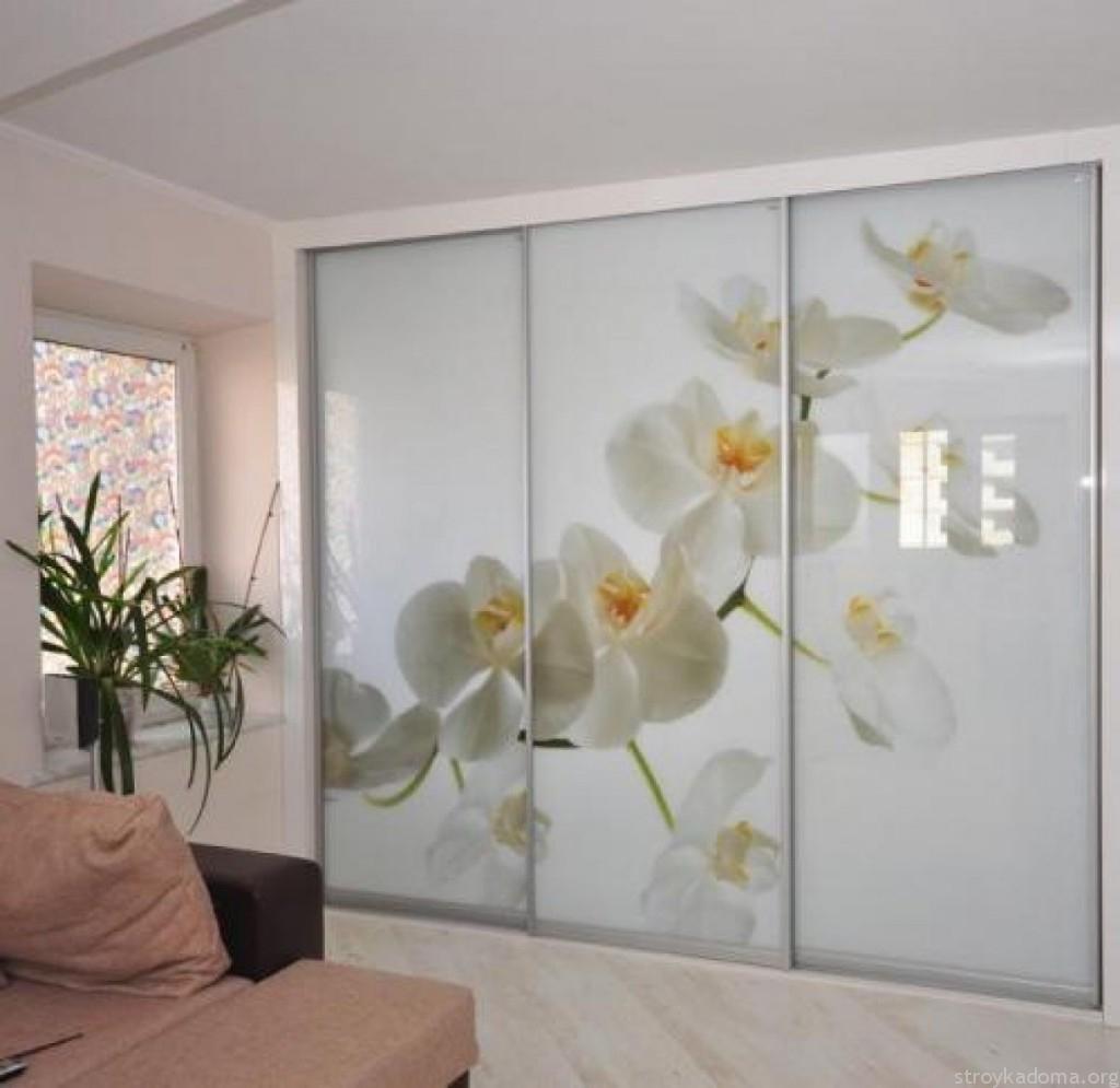 Встроенный шифоньер с орхидеями на фасаде