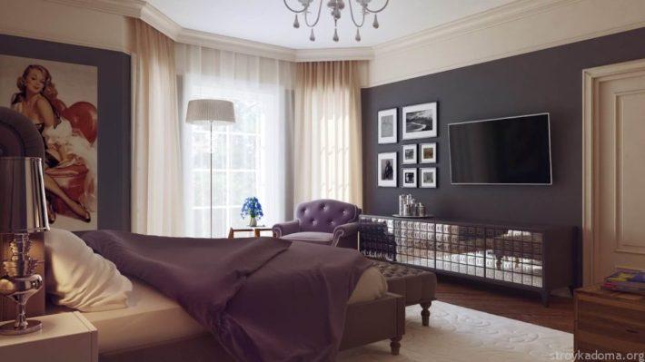 Легкие гардины и темно-серые обои в стиле модерн