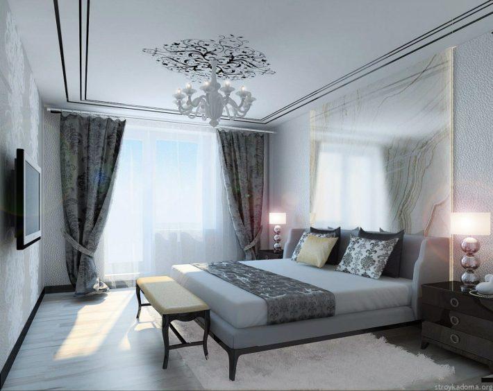 Роскошная спальня в жемчужно-серых и белых тонах