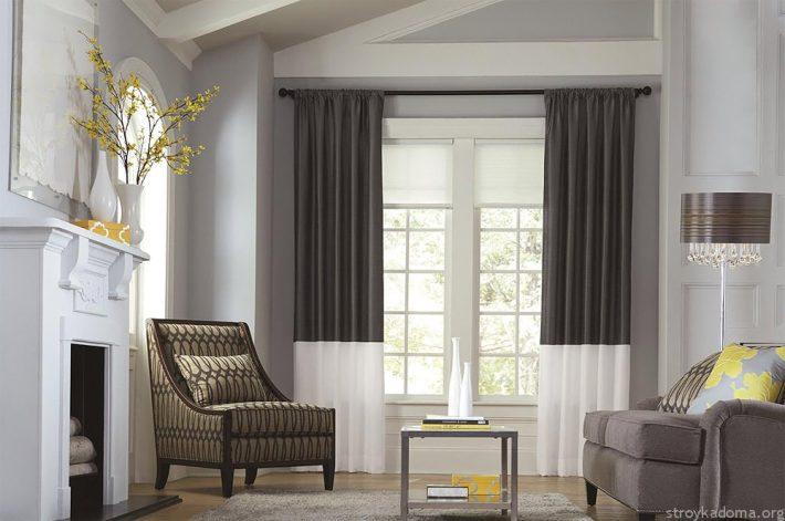 Стильные двухцветные шторы – оригинальность в классическом стиле