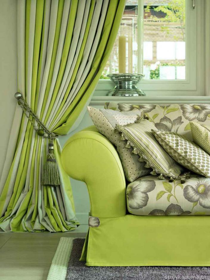 Зеленые шторы - современное решение для любого интерьера