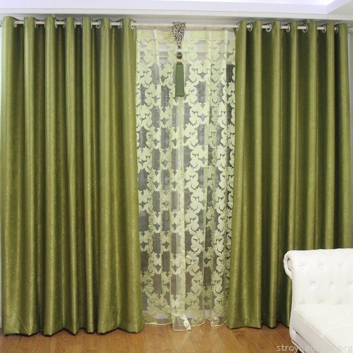 Классические оливковые шторы