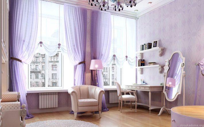 Стильная комната в сиреневых тонах