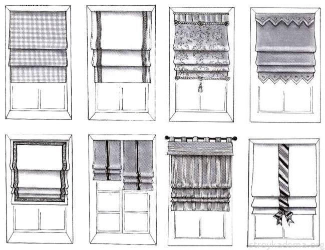 Изображение схематически показывает то, как разнообразно и интересно могут быть оформленные римские шторы
