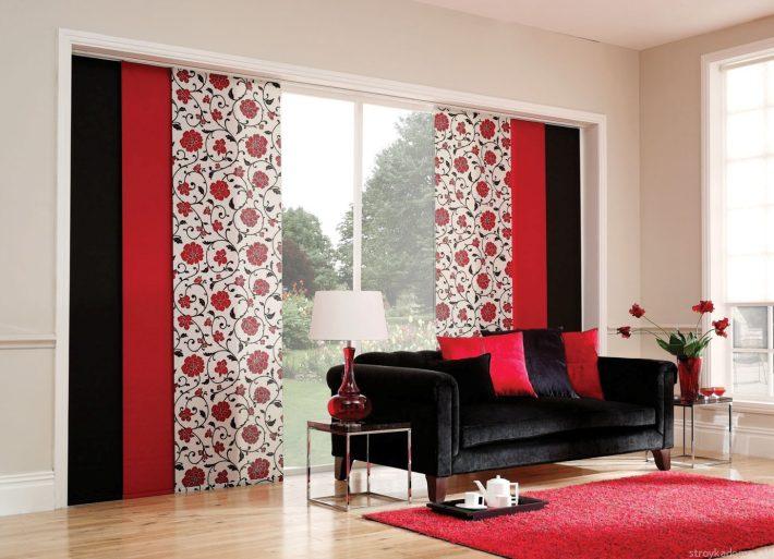 Красно-черная современная гостиная