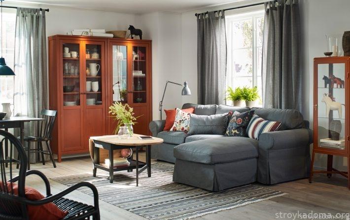 Серый диван ИКЕА с козеткой