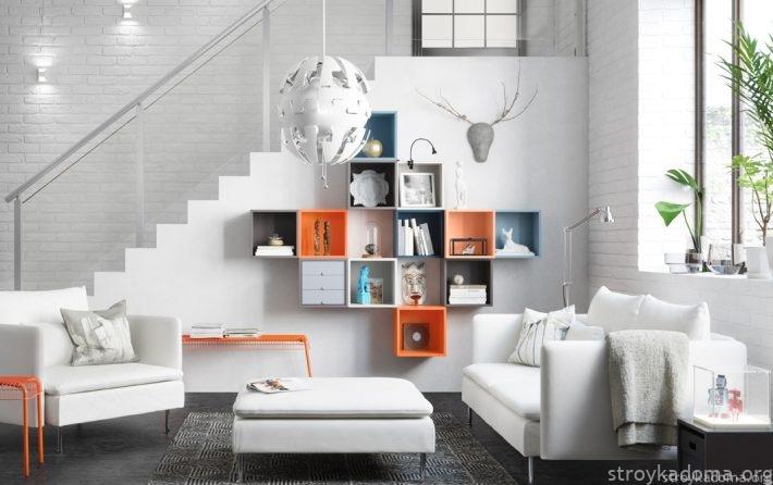 Стильный диван белого цвета