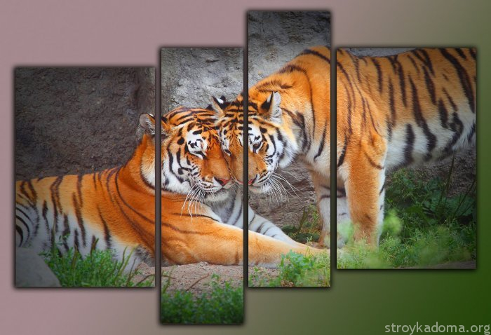 Умиротворенная чета тигров настроит на покой, потому в спальне вполне уместна
