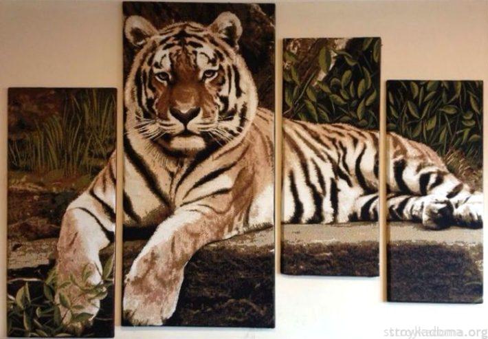 Крупноформатное изображение хищника в прихожей может слегка шокировать гостей; в рабочем кабинете или комнате-студии – создать особую атмосферу