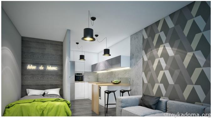 Достаточно всего лишь одеяла, выполненного в цвете Greenery плюс яблоки Симиренко в вазе – и новомодный образ в спальне-гостиной создан