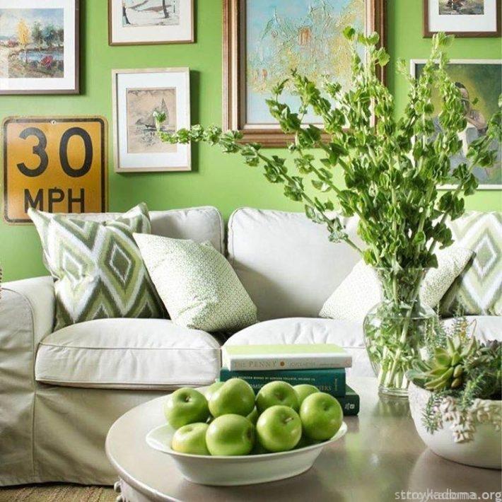 Окраска в модный цвет одной стены и приобретение немногих растительных аксессуаров – решение несложное и недорогое