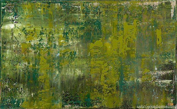 Картина в стиле абстракционизма, написанная на стекле с акцентом в модный цвет растительной зелени