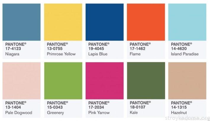 Вот так выглядит, созданная в конце предыдущего сезона, схема PANTONE из 10-и модных цветов 2017 года…