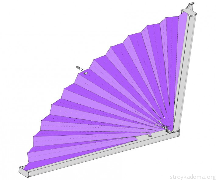 Штора-веер для криволинейных проемов окон-дверей