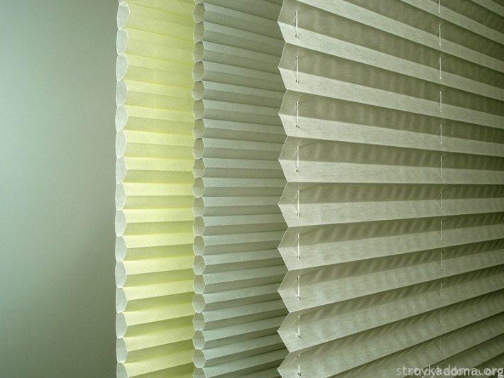 Разные типы штор плиссе: Berlin («гармошка» из трубчатых элементов) с одной плоской поверхностью; Rollo с обеими складчатыми поверхностями; собственно Plissé – ткань или пленка, собранная складками.