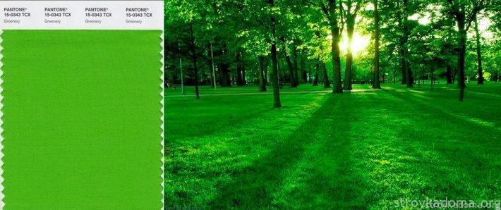 Пейзаж от PANTONE (лично), выполненный в самых модных зеленых тонах, украсит любую комнату, прихожую или коридор